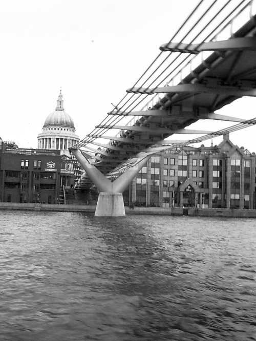 London's Millennium Footbrige, known by Londoners as the Wobbly Bridge,